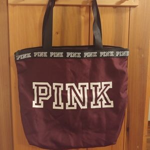 Victoria's Secret Dark Purple and Black Tote Bag